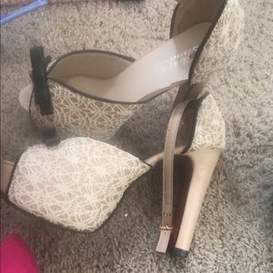 Black n off white platform heels